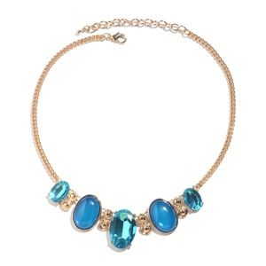 Jewelry - Simulated Apatite, Chroma Goldtone Curb Necklace